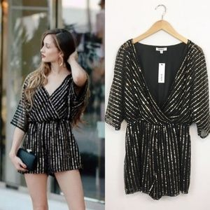 BB Dakota Odelia Black and Gold Sequin Romper M
